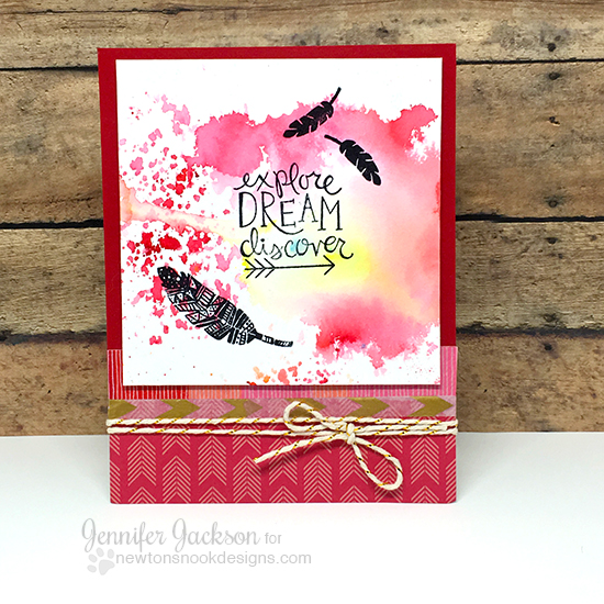 Dream Themed Watercolor Cards by Jennifer Jackson | Adventure Awaits Stamp set by Newton's Nook Designs #newtonsnook