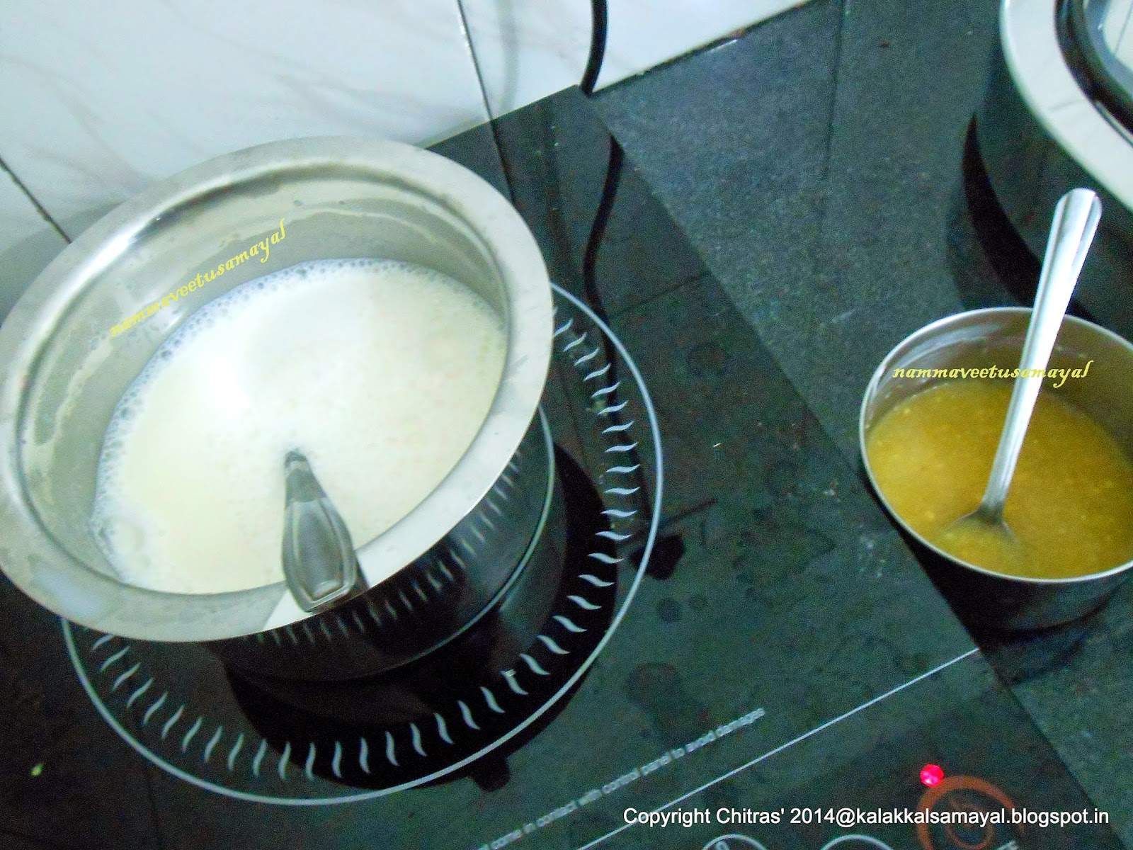 Simmer milk, cream and sugar mixture