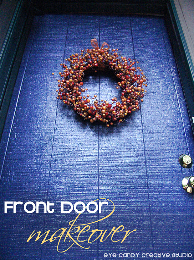 front door makeover, Modern Masters paint, peaceful front door paint, blue front door
