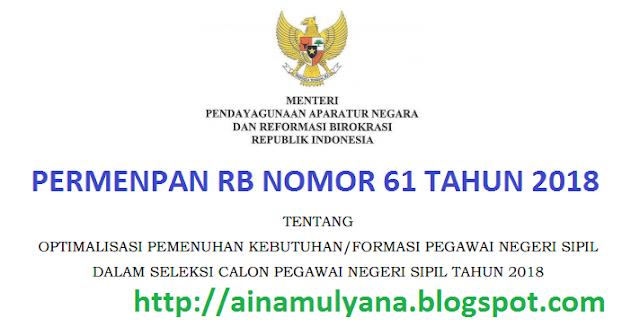 Permenpan RB Peraturan Menpan RB Nomor  PERMENPAN RB / PERATURAN MENPAN RB NOMOR 61 TAHUN 2018