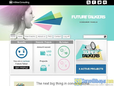Dasbor akun online survey Future Talkers | SurveiDibayar.com