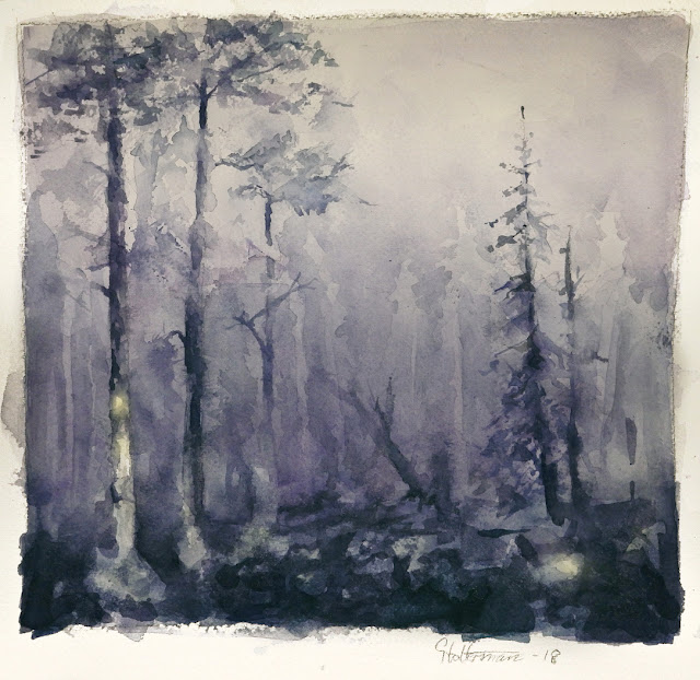 watercolour painting of dark forest with trees and fog. A glow in the night