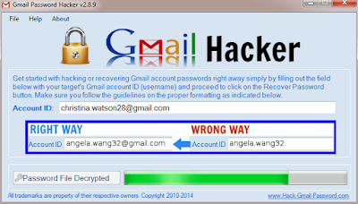 Gmail password hacker v2.8.9 with Activation Code key