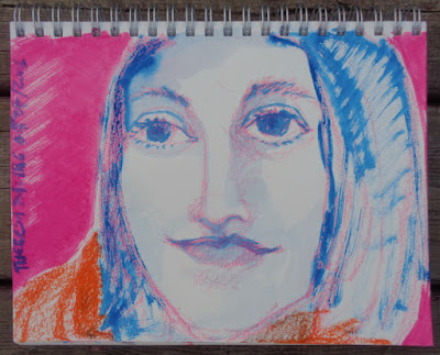 portrait drawing painting with oil pastel and M. Graham brand gouache by verna vogel
