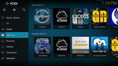 Select Addons option on Kodi