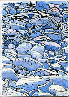 """Seashore Rocks"" - Watercolor by Paul Sherman"