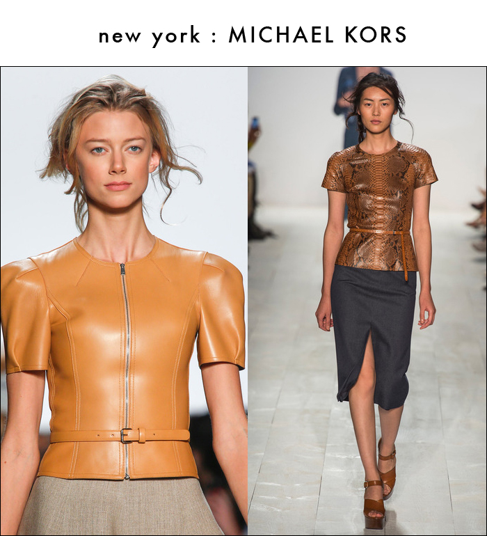 michael kors, spring rtw 2014, leather jacket, leather top, snake print