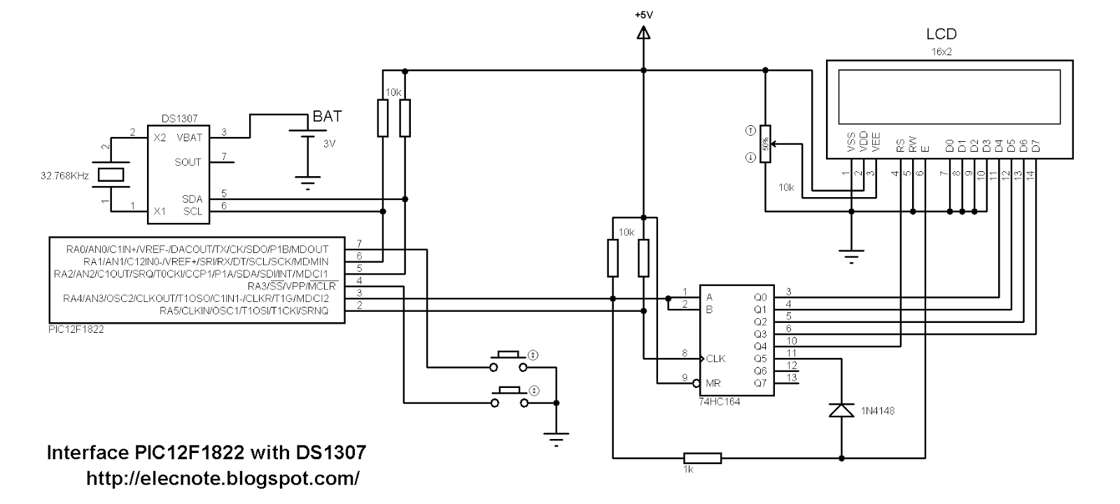 Electronics Note: Digital Real Time Clock using PIC12F1822
