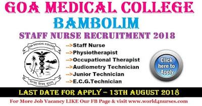 Staff Nurse Vacancy in Goa Medical College Bambolim August 2018