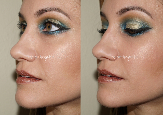 maquillaje navidad azul y dorado