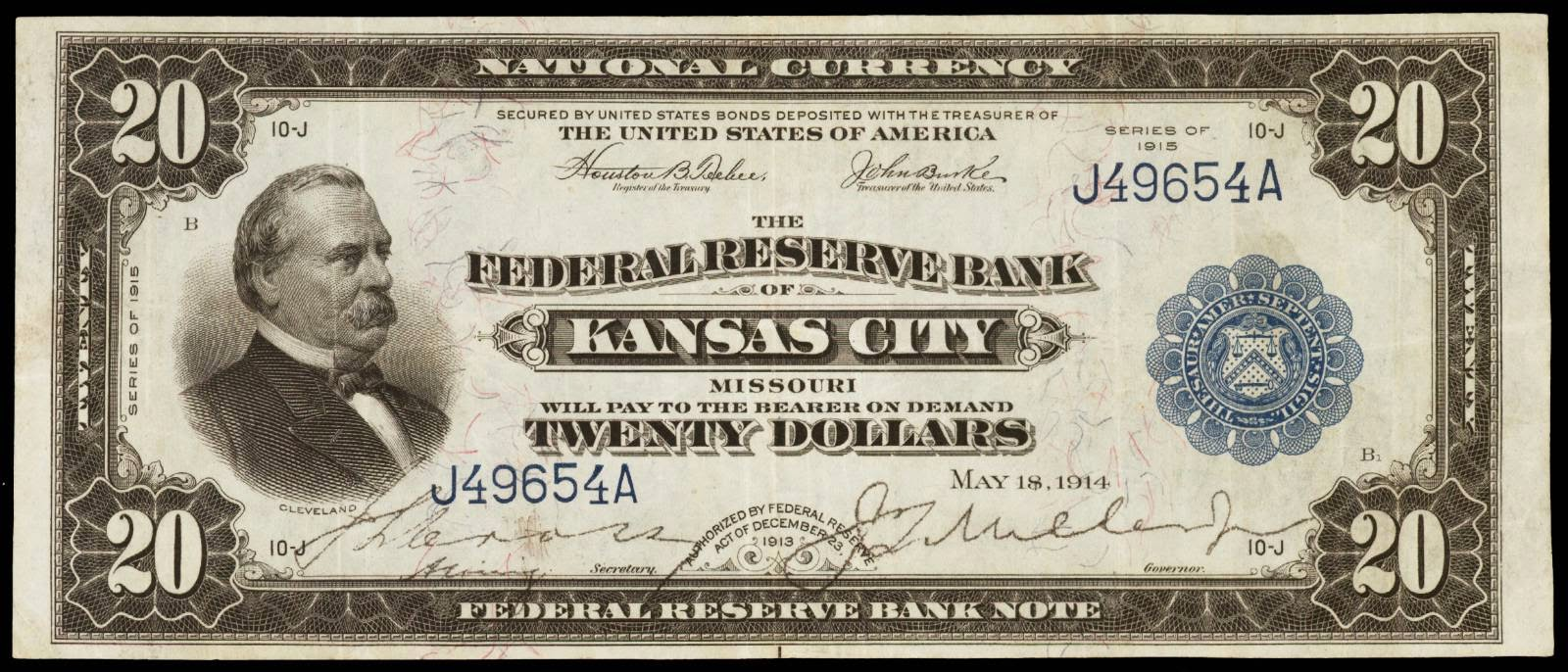 US currency 1915 20 Dollar Federal Reserve Bank Note