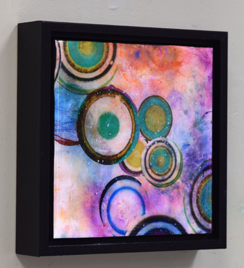 colorful square framed resin painting