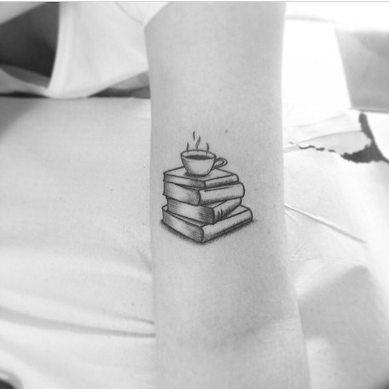 Book & Hot Coffee Cup Tattoos
