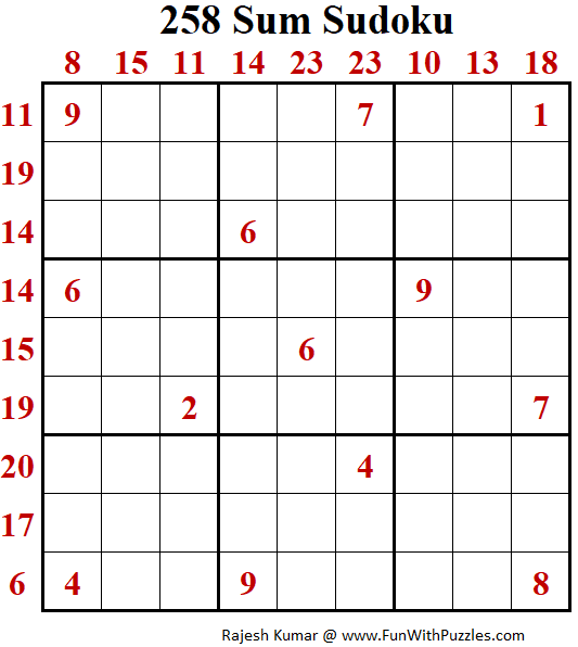 258 Sum Sudoku Puzzle (Daily Sudoku League #218)