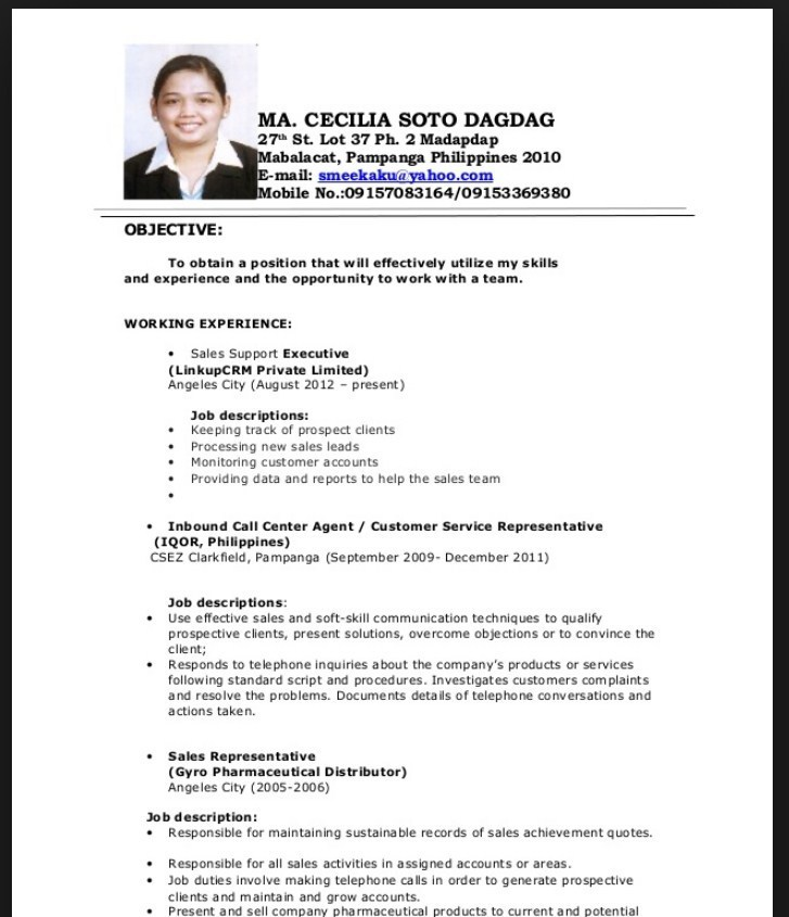 chronological resume sample for fresh graduate - Fresh Graduate Resume Sample