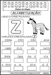 Atividades de alfabetização letra Z