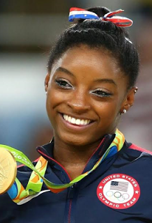 Olympic Gold medal-winning gymnast Simone Biles reacts to the leak of her confidential medical file