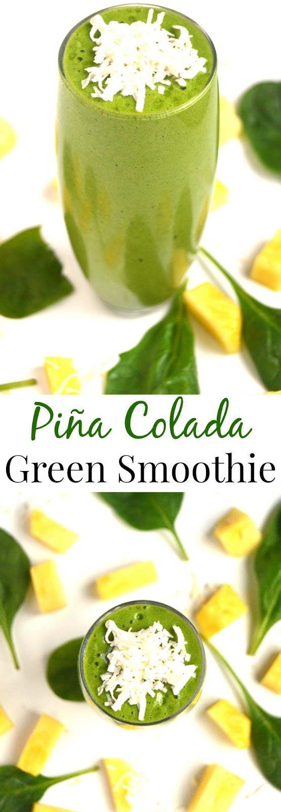 Piña Colada Green Smoothie is ready in 2 minutes and tastes delicious with fresh pineapple, coconut, frozen banana, spinach and protein for a refreshing beverage! www.nutritionistreviews.com