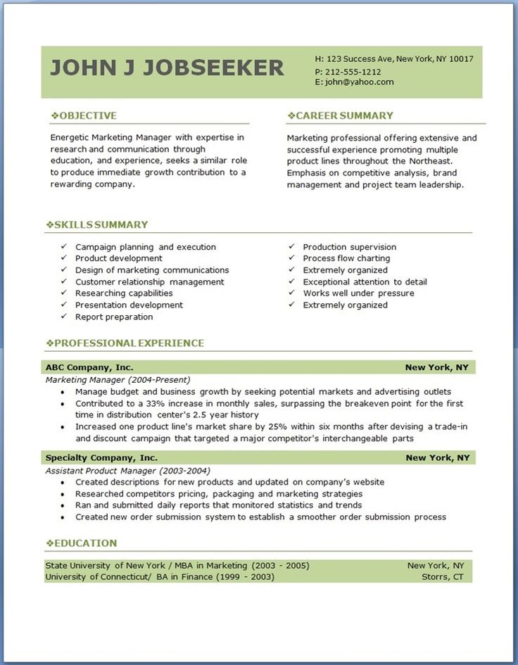 Example professional resume