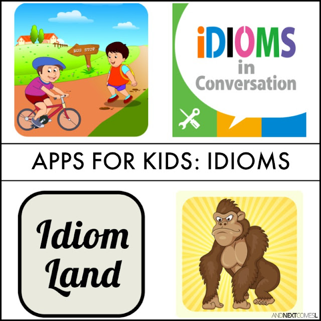 Speech apps for kids with autism or hyperlexia to work on idioms, metaphors, and figures of speech from And Next Comes L