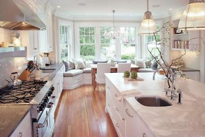 kitchen with elegant bay window decorating idea