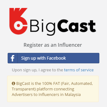 BigCast registration page