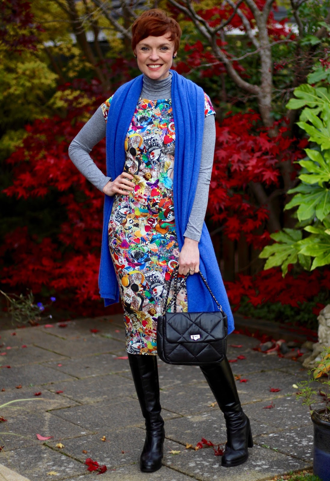 Blue Cashmere Wrap, Graphic Bodycon Dress, OTK Boots | Fake Fabulous