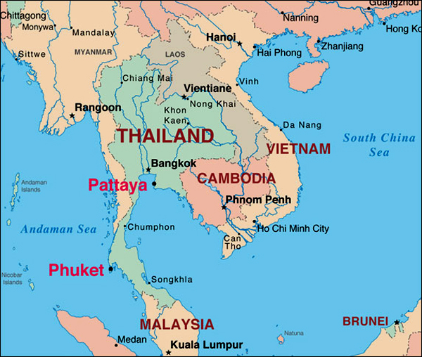 detailed map of south thailand - 600×508