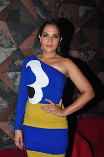 Richa Chadda in a lovely One Shoulder Gazuri and Nainika Designed Dress at Sarbjit Trailer Launch