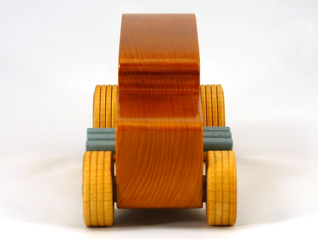 Front - Wooden Toy Car - Hot Rod Freaky Ford - 32 Sedan - Pine - Amber Shellac - Metallic Green - Gray