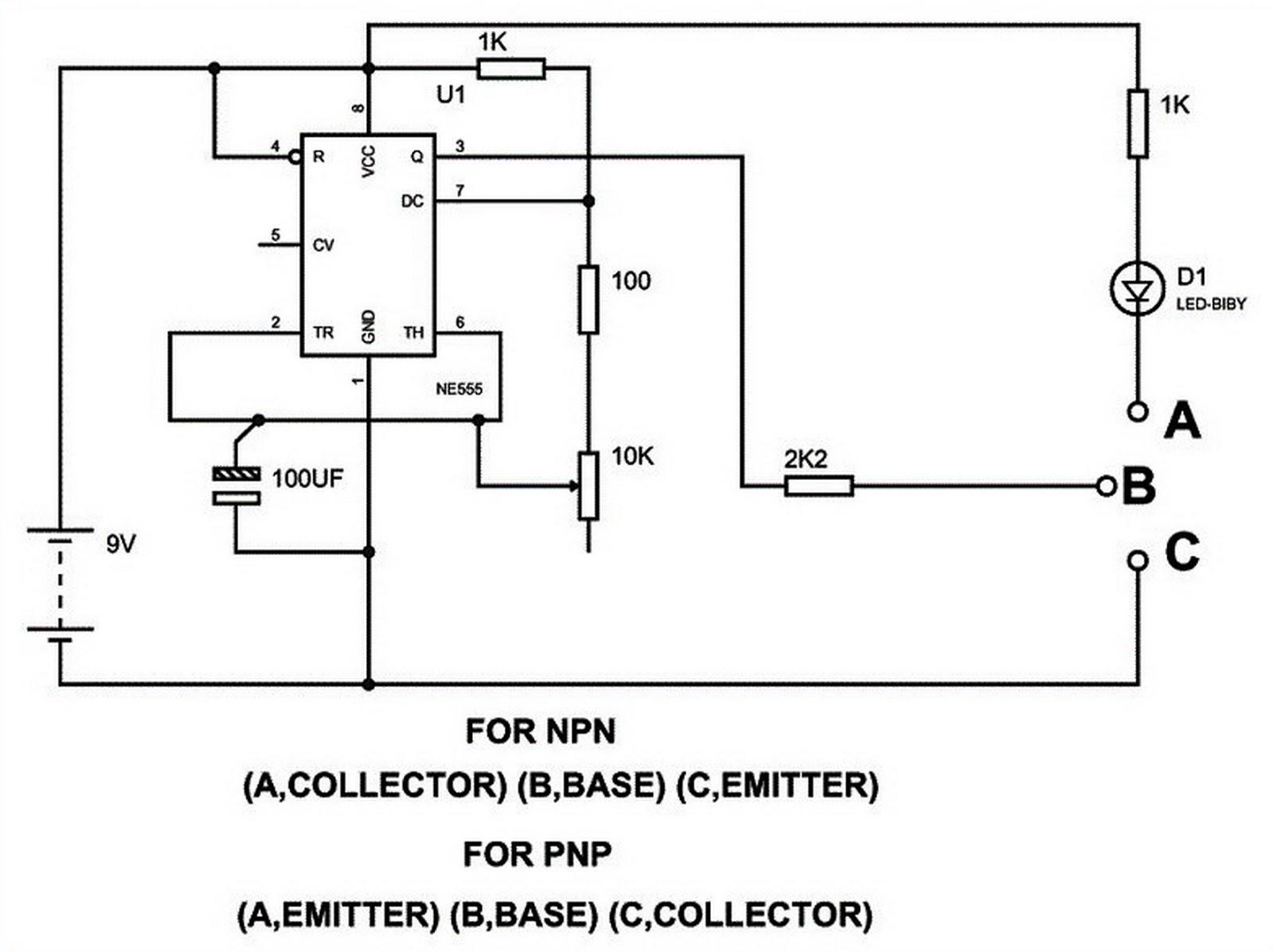 Circuito Transistor : EletrÔnica geral: teste de transistor usando ci 555