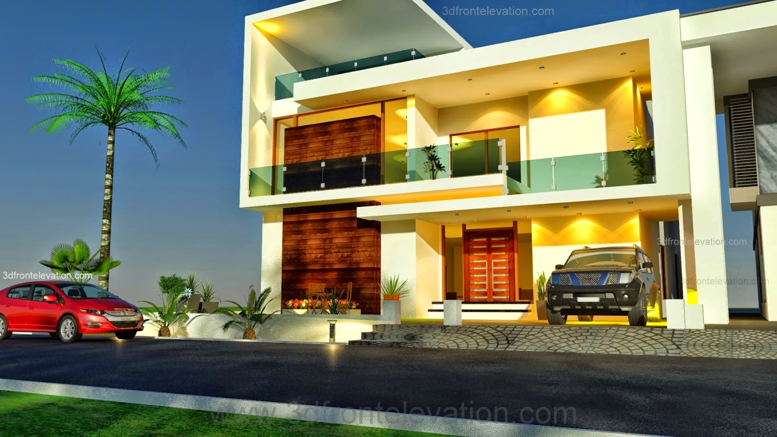 Luxury saudi arabian villa 3d front elevation house gallery for front - Search Label Beautiful Pakistani Modern And Contemporary House Design Straight Line Work