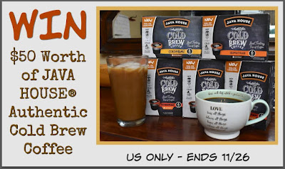 Enter the Java House Cold Brew Coffee Giveaway. Ends 11/26. Good luck.