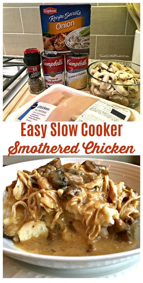 Easy Slow Cooker Smothered Chicken