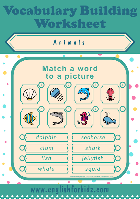 Sea animals worksheet - word to picture matching - free ESL worksheets
