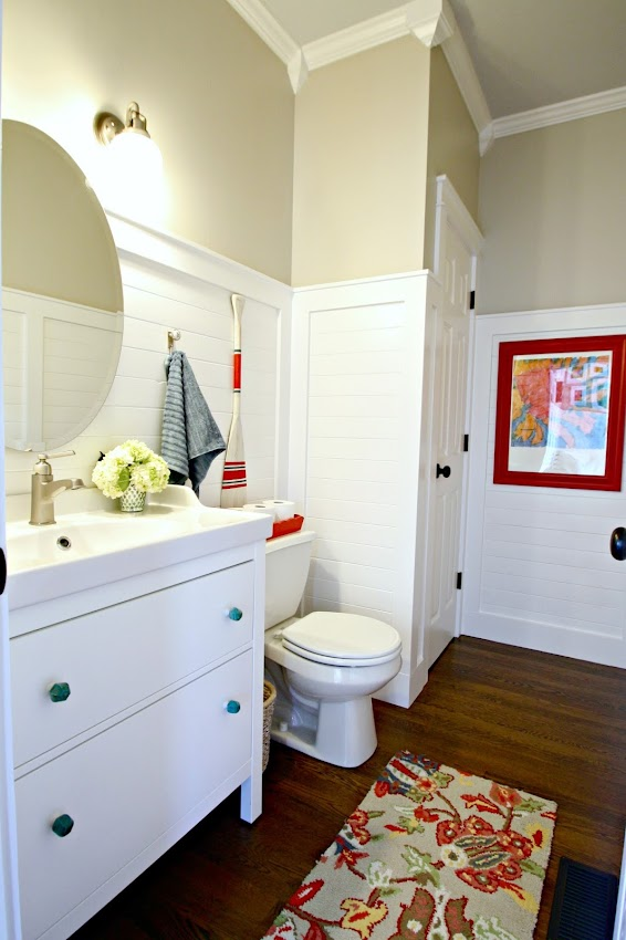 white planked wall bathroom