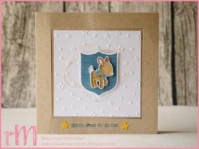 Stampin' Up! rosa Mädchen Kulmbach: Faltkarte zur Geburt mit Bambi und Wappen aus Zum Nachwuchs und Gut gewappnet
