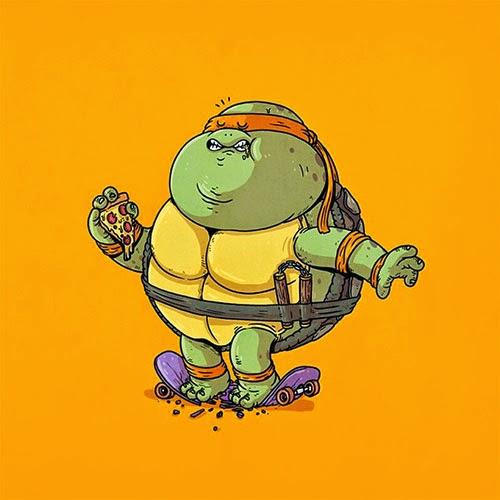 Fat Super Hero Gemuk - Ninja Turtle Fat Michelangelo