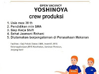 lowongan kerja crew produksi yoshinoya surabaya