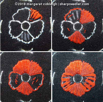 Progress photos showing the red portion of the embroidered remembrance poppy (DMC version)