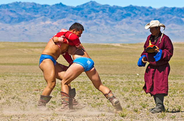 Local Naadam wrestling event in the southern Gobi. Bayandalai, Omnogobi Aimag
