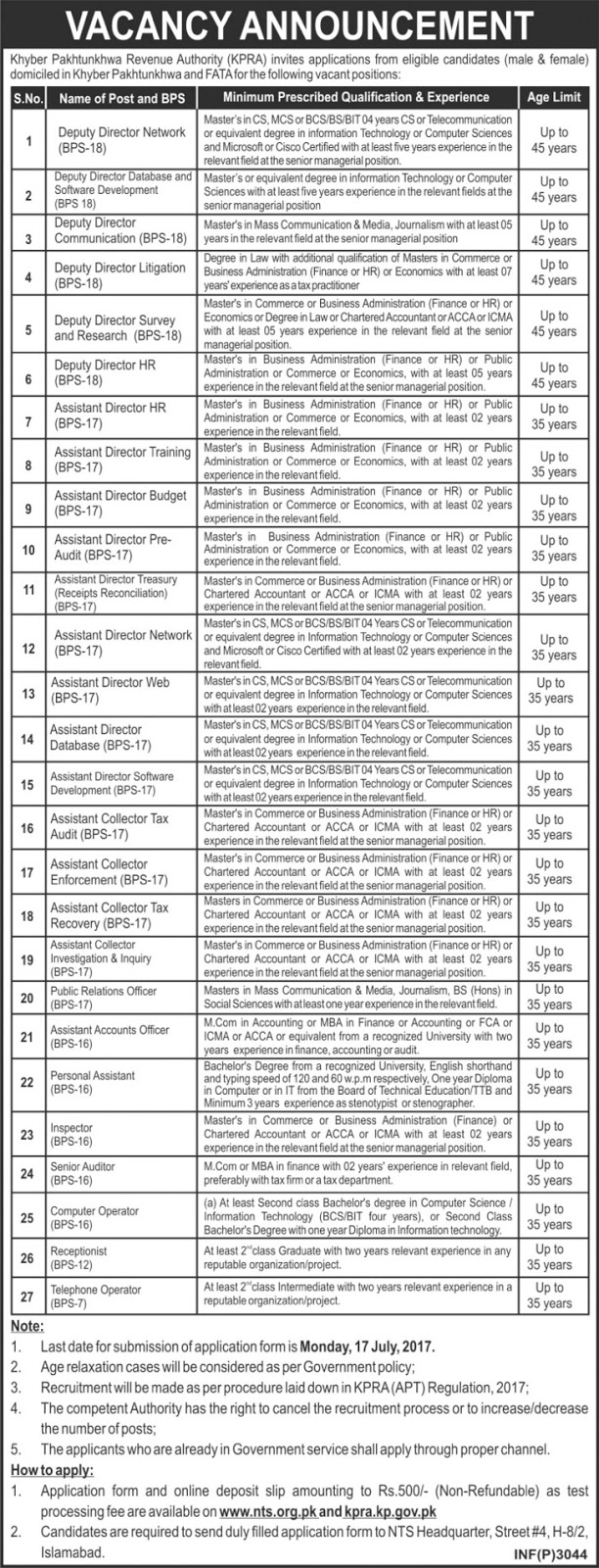 Bps-7 to 18 Jobs In Board Of Revenue Khyber Pakhtunkhwa 22 Jun 2017