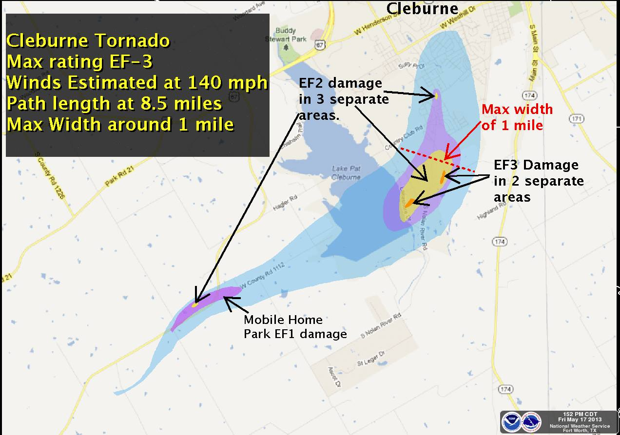 Map Of Tornadoes In Texas Yesterday.Granbury Cleburne Texas Tornadoes