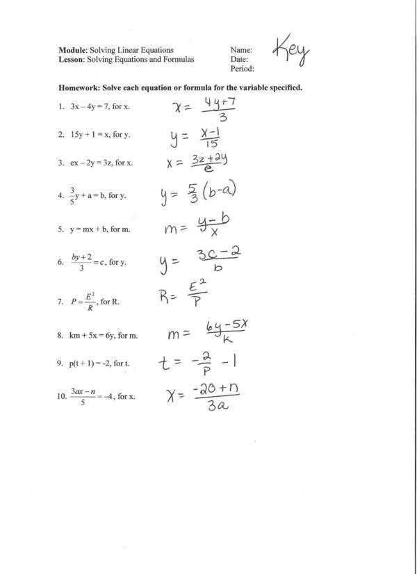 Literal Equations Worksheet