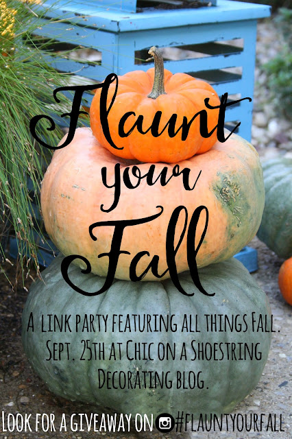 Flaunt your Fall Link Party at www.chiconashoestringdecoratingblog.com