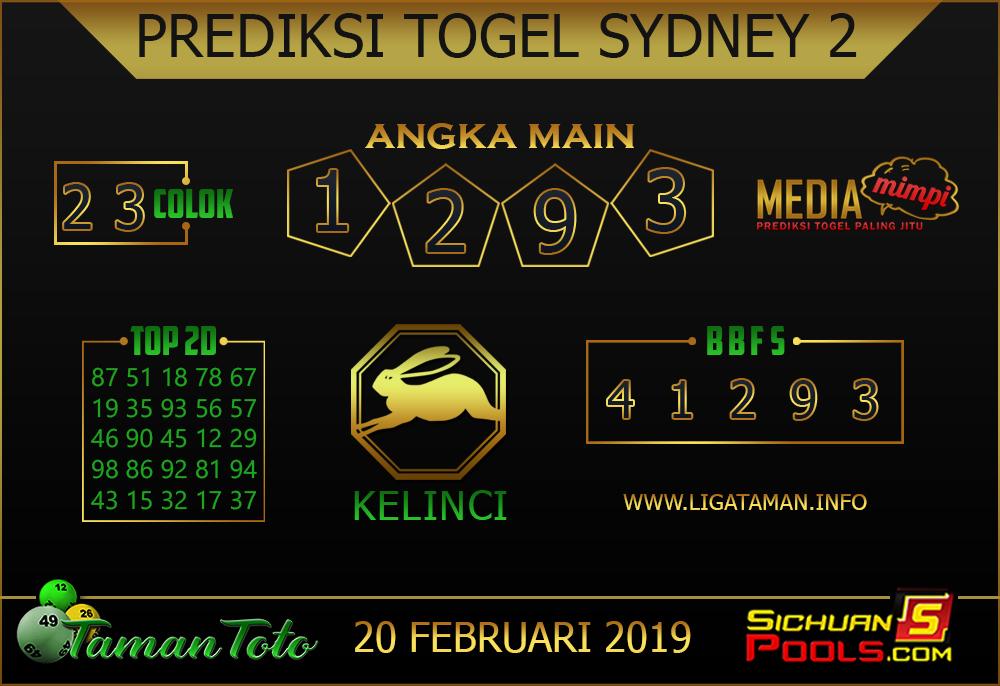 Prediksi Togel SYDNEY 2 TAMAN TOTO 20 FEBRUARI 2019