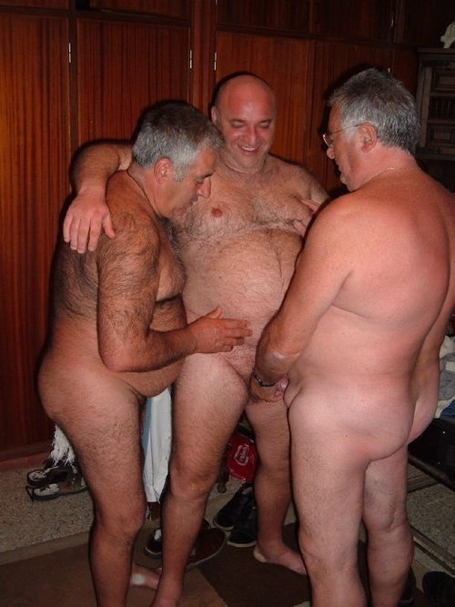 gay old daddy naked ass in pool
