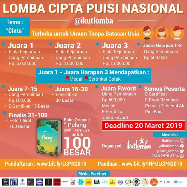 Lomba Cipta Puisi Nasional @ikutlomba 2019 Umum