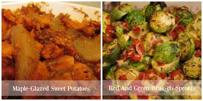 Maple-Glazed Sweet Potatoes & Red And Green Brussels Sprouts