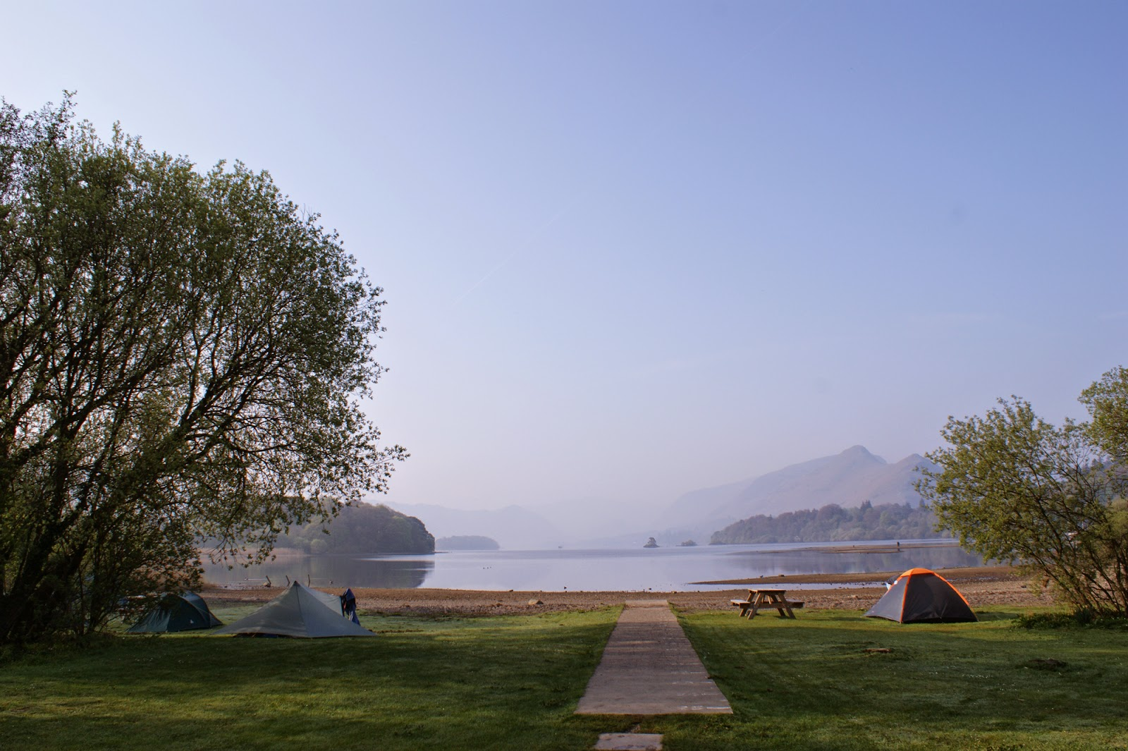 My best camping spot in the Lake District - looking over Derwent Water towards Borrowdale with Catbells on the right. What a view to wake up to in the morning!